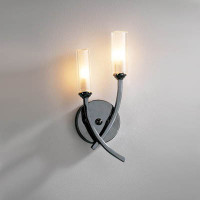 Contemporary wall lights contemporary wall lights dar mor0967 morgan twin wall light black chrome mozeypictures Images