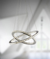 Searchlight 8757-168CC Clover LED Twin Ring Crystal Pendant