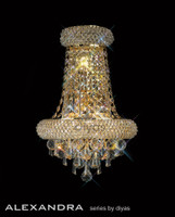 Diyas IL32102 Alexandra 3 Light Crystal Wall Light French Gold