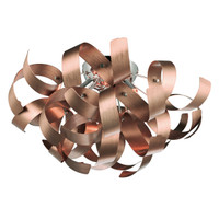 Dar RAW0464 Rawley 4 Light Ceiling Light Brushed Satin Copper