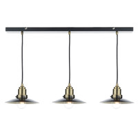 Dar HAN0354 Hannover 3 Light Bar Pendant Antique Brass/Black