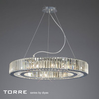 Diyas IL30099 Torre 10 Light Polished Chrome Crystal Ceiling Pendant