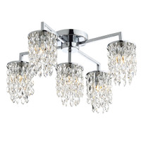 Dar NIA5450 Niagra 5 Light Crystal Ceiling Light Chrome