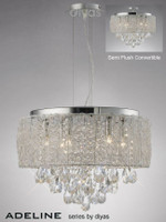 Diyas IL31160 Adeline 4 Light Crystal & Chrome Ceiling Light