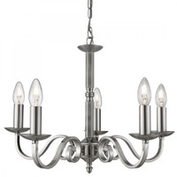 Searchlight 1505-5SS Richmond 5 Light Ceiling Pendant Satin Silver