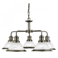 Searchlight 1595-5AB Bistro 5 Light Ceiling Pendant Antique Brass