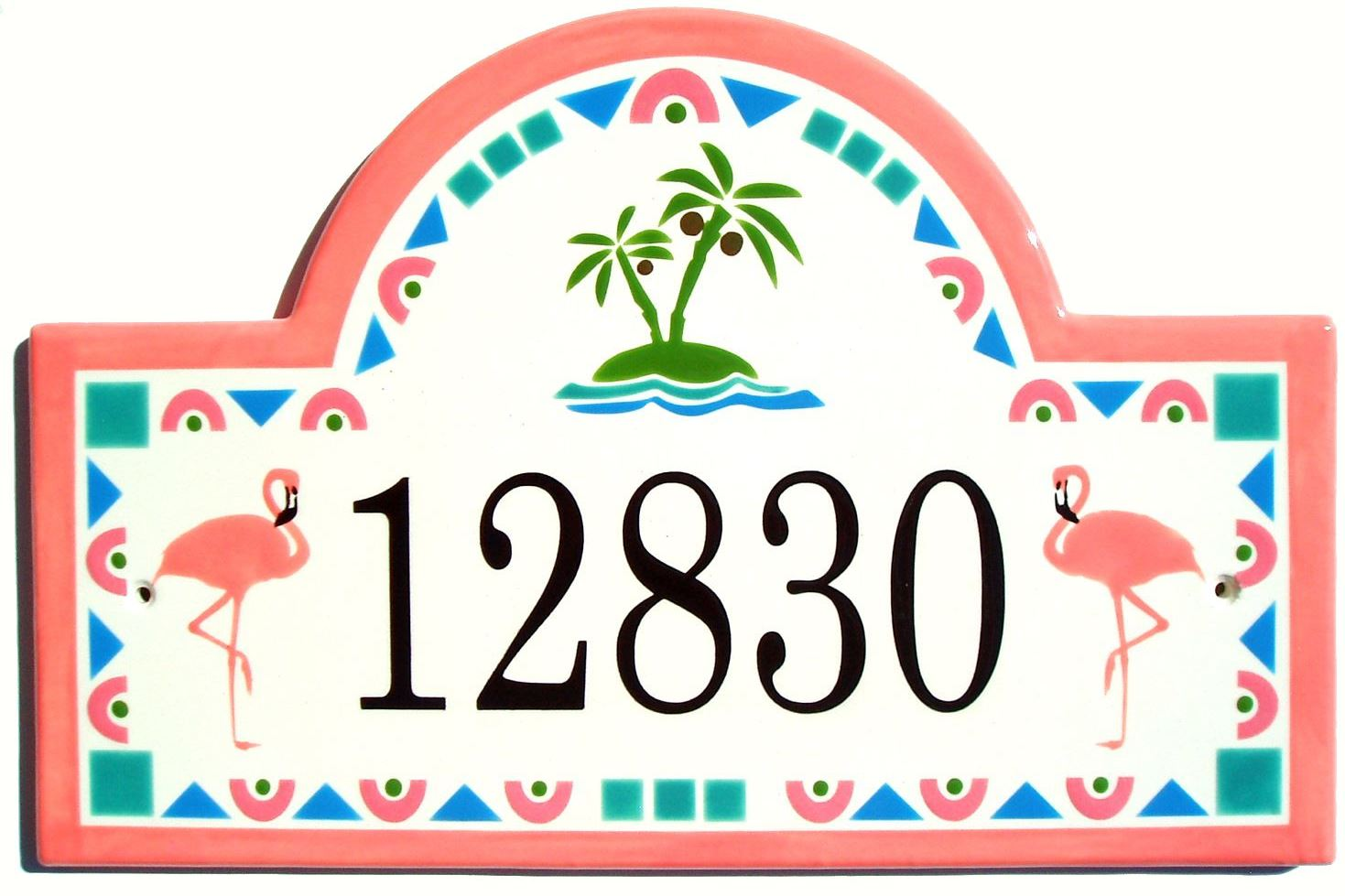 Address plaques gallery ceramic address plaques ceramic house flamingo house number plaqueg dailygadgetfo Choice Image