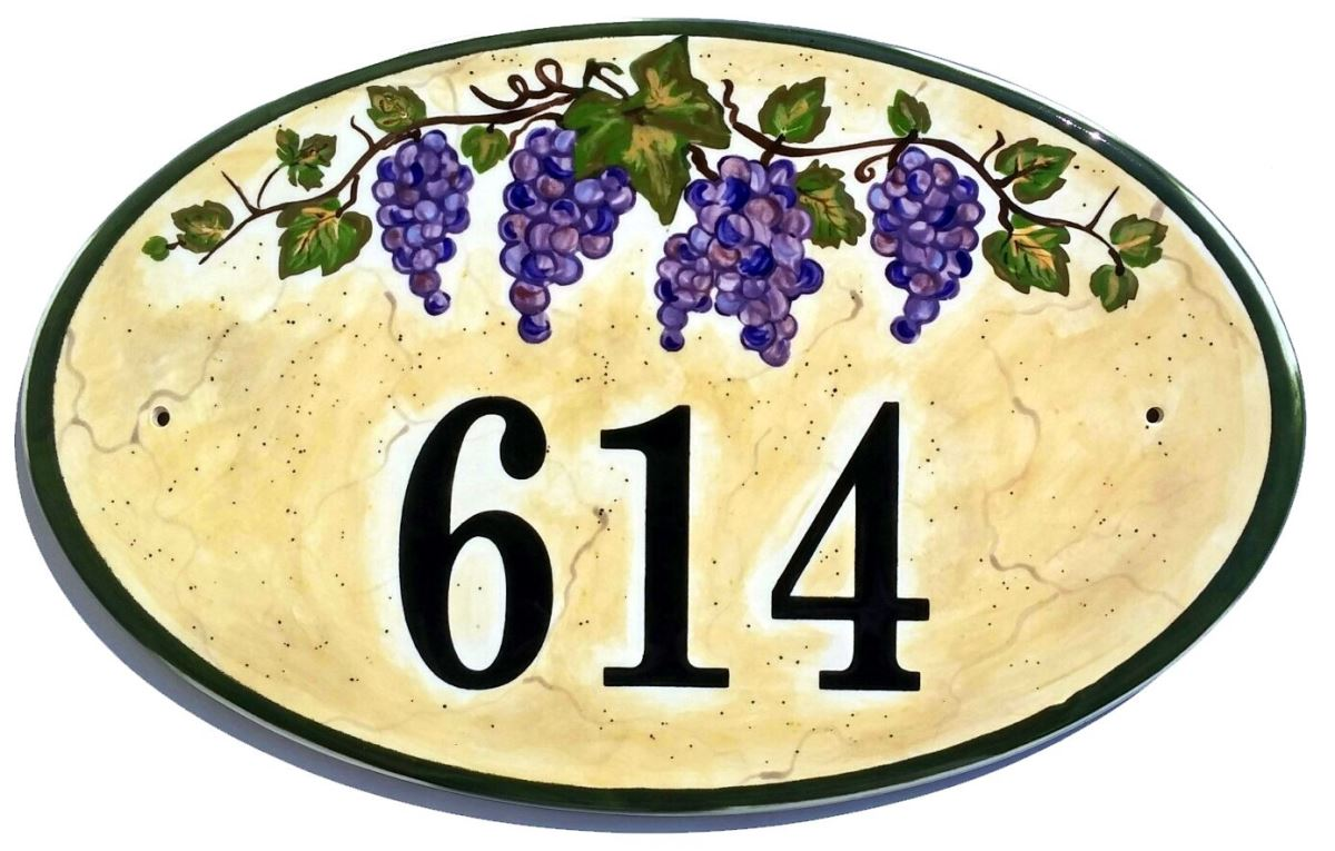 Address plaques gallery ceramic address plaques ceramic house oval italian vineyard 2015g dailygadgetfo Choice Image