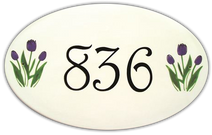 Tulip Gardens Oval House Number Signs