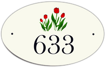 Tulip Oval House Number Signs