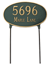 Two Sided Oval Address Plaque. Rust Free Cast Aluminum Lawn Stakes are Included for No Additional Charge