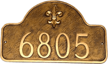 Fleur de lis Address Number Plaque - One Line