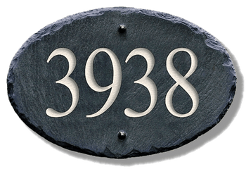 Slate house numbers plaque oval address plaques stone for Classic house number plaque
