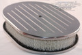 "12"" Aluminum  Ball-milled Oval Air Cleaner: Polished"