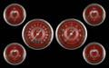 V8 Red Steelie Series Six Gauge Set - Classic Instruments - V8RS01SHC