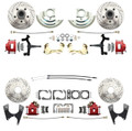 "DBK6472D1012LX-R  - 1964-1972 GM A Body (Chevelle, GTO, Cutlass) 2"" Drop Front & Rear Disc Brake Kit w/ Drilled & Slotted Rotors Red Calipers"
