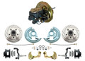 DBK6769LXB-BCK5005  - 1967-1969 F Body 1968-1974 X Body Front Power Disc Brake Conversion Kit Drilled & Slotted & Powder Coated Black Calipers Rotors w/ O.E.M. Booster Kit