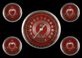 V8 Red Steelie Series Five Gauge Set - Classic Instruments - V8RS54SLC