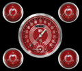 V8 Red Steelie Series Five Gauge Set - Classic Instruments - V8RS65SLC