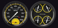 Auto Cross Yellow 1947-53 GM Pick-Up  Gauges w/ Speedtachular - Classic Instruments - CT47AXY62