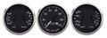 "New Vintage Black 1940 Series 3 Gauge Kit ~ 3 3/8"" Mech Speedo & Duals - 40306-01"