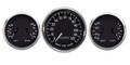 "New Vintage Black 1940 Series 3 Gauge Kit ~ 4 3/8"" Prog Speedo & Duals - 40335-01"