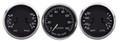 "New Vintage Black 1940 Series 3 Gauge Kit ~ 3 3/8"" Prog Speedo & Duals - 40336-01"
