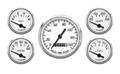New Vintage White 1940 Series 5 Gauge Kit ~ Mech Speedo - 40504-03