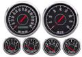 """New Vintage Black 1967 Series 6 Gauge Kit ~ 3 3/8"""" Prog Speedo / 0-90 Fuel Sender - 67619-01"""