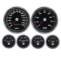 "New Vintage Black Performance Series 6 Gauge Kit ~ 4 3/8"" Speedo - 0-90 Fuel - 01659-01"