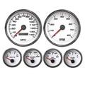 "New Vintage White Performance Series 6 Gauge Kit ~ 4 3/8"" Speedo - 240-33 Fuel - 01650-03"