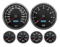 "New Vintage Black Performance II Series 6 Gauge Kit ~ 4 3/8"" Speedo/Tach - 02659-01"
