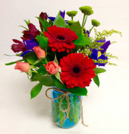 Blue Mason Jar Posy
