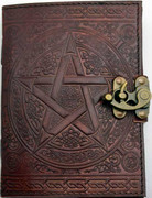 Brown Pentagram  Leather Journal w/ Latch