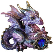 Pink / Purple Dragon w/ Stone Statue 4""