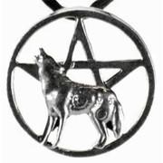 Howling Wolf Pentagram Pendant