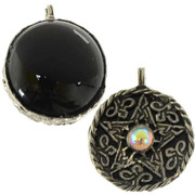 Fancy Pentagram Pendant with Black Onyx Scrying Disk