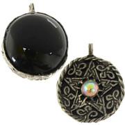 Fancy Pentagram Pendant with Black Onyx Scrying Disk