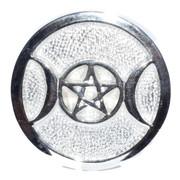 "Silver Plated Triple Moon Altar Tile 3 1/2"""