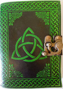 Triquetra Blank Leather Journal w/ Latch Black / Green