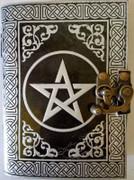 Pentagram Blank Leather Journal w/ Latch Black / Silver