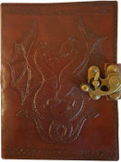 Double Dragon Blank Leather Journal w/ Latch