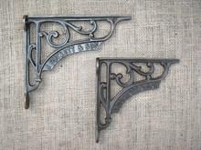 bracket signature brackets hardware iron shelf pin rustic cast