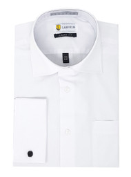 Labiyeur Men's Classic Fit French Cuff Poplin Cotton Blend Solid White Dress Shirt