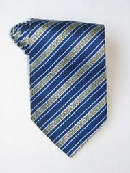 Golden Flowers Stripe Blue Background Tie