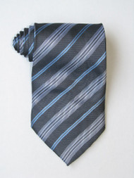 Blue Background And White Stripe Tie