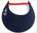 Navy Denim Fabric with Swarovski Anchor Jumbo Peak Flexi Visor