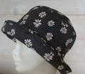 Black Spots with White Flowers Lightweight Cotton Sun Hat