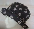Black Spots with White Flowers Lightweight Cotton Sun Hat