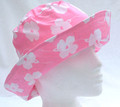 Pink with White Flowers Lightweight Cotton Sun Hat
